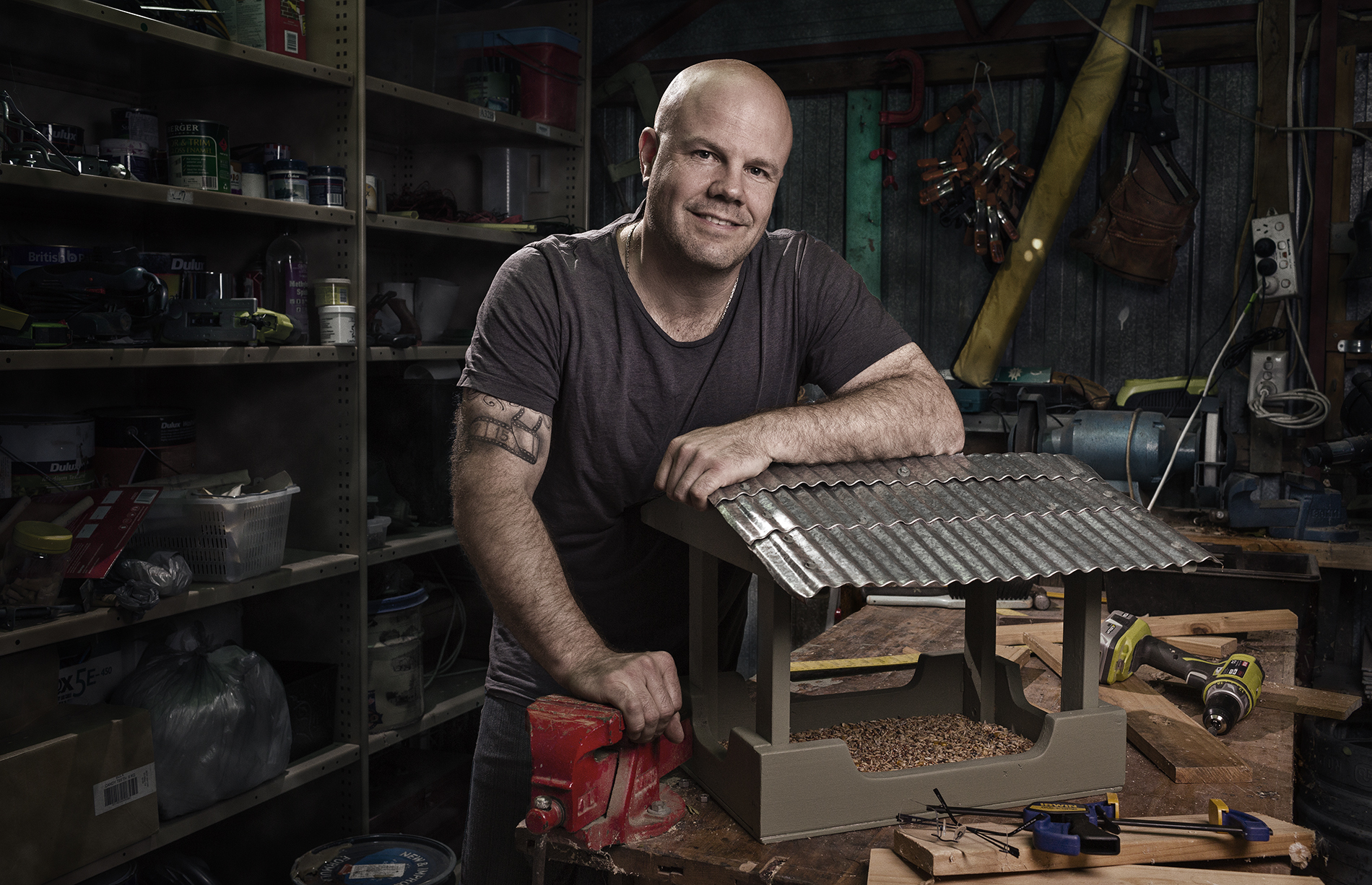 Craig Wetjen, photographer, mens shed tinker, Environmental Portrait