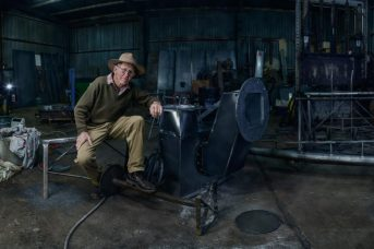 Hume Colville Self Priming pump engineer and his shed environmental portrait