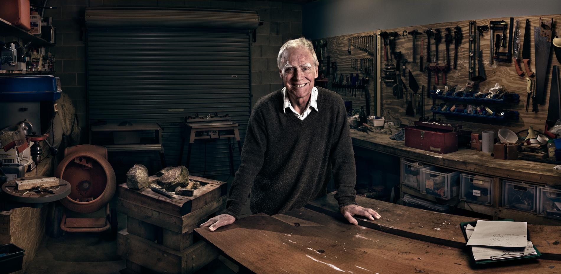 George stonemasonry, woodwork, viticulture and winemaking environmental portrait